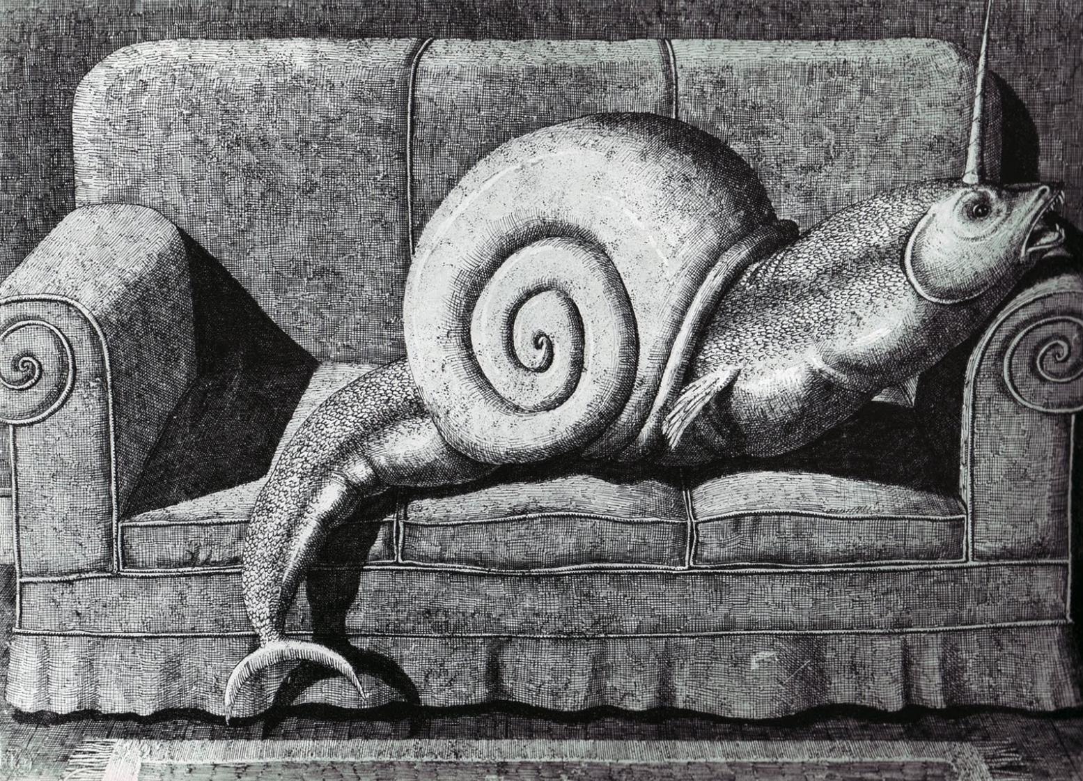 Edward Gorey Snail unicorn